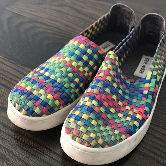 7a5f806297d Steve Madden multi color woven slip on sneakers